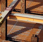 picture of girder  - Strong steel girders support a large scale construction project - JPG
