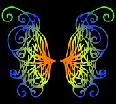 Illustration. Iridescent Wings Of A Butterfly On A Black Background