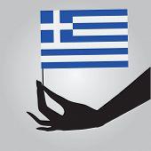 Hand With Greece Flag