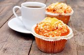 cup of coffee berry muffins