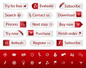 Light Buttons With Red Bookmarks And Icons