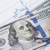 100 Usa Dollars Banknote Over Stock Market Chart - Studio Shot