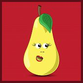 Cute Pear On The Red Background