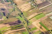 pic of farm land  - aerial of polish farm land in morning light near Krakow