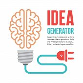Human brain in light bulb vector illustration