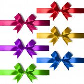 Big Set Of Gift Bows With Ribbons.