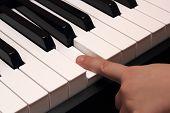 Child Finger Pressing White Piano Key