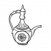 Antique jug or teapot, vector sketch illustration