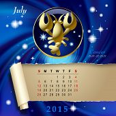 Simple monthly page of 2015 Calendar with gold zodiacal sign against the blue star space background. Design of July month page with Cancer figure. Vector illustration