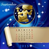 Simple monthly page of 2015 Calendar with gold zodiacal sign against the blue star space background. Design of September month page with Virgo figure. Vector illustration