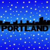 Portland skyline reflected with snow vector illustration