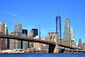 image of brooklyn bridge  - View Of New York City Downtown Skyline With Brooklyn Bridge - JPG