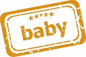 Baby Word On Rubber Grunge Stamp Isolated On White