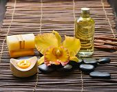 picture of gladiola  - Zen rock and Handmade soap with candle - JPG