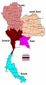 Thailand Map 5 Regions