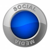 Social Media Button Represents News Feed And Forums