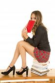 School Girl Behind Book Sit On Stack