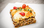 Portion Of Lasagna On The Square Plate