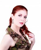 Attractive Caucasian Red Head Woman Camouflage Top