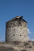 Ancient Windmill In Kefalos, Kos; Greece