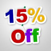Fifteen Percent Off Represents Offer Promotional And Promo
