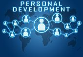 stock photo of self assessment  - Personal Development concept on blue background with world map and social icons - JPG