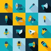 Microphone and megaphone icons flat