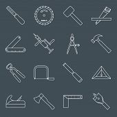 Carpentry tools icons outline