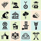 Circus icons set black