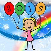 Twenty Fifteen Balloons Represents New Year And Kids