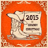 Western New Year Greeting Card With Cowboy Traditional Objects