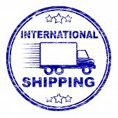 International Shipping Stamp Indicates Across The Globe And Countries