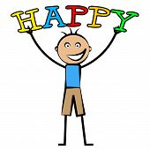 Happy Boy Shows Happiness Youths And Fun