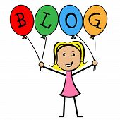 Blog Balloons Indicates Young Woman And Kids