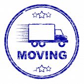 Moving House Stamp Represents Change Of Residence And Lorry
