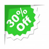 Thirty Percent Off Shows Promotional Reduction And Discounts