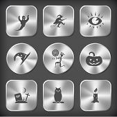 Mystic signs set. Vector round and square steel buttons.