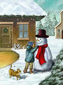 Children decorating a snowman in a beautiful winter landscape. Digital illustration.