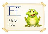 Literacy card showing the letter F with example object and sentence