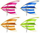 Set of 4 colorful hang gliders