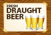 Fresh draught beer poster on wood