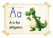 Alligator flashcard poster with letters