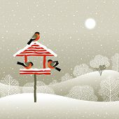 Birdfeeder in winter forest. Vector