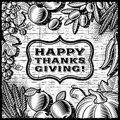 Thanksgiving Retro Card black and white. Vector