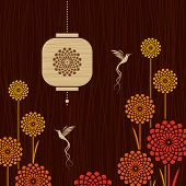 Card with birds, flowers and lantern. Vector