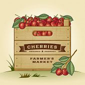 Retro crate of cherries. Editable EPS10 vector illustration with clipping mask and transparency.