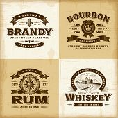Vintage alcohol labels set. Fully editable EPS10 vector.