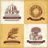 Vintage Thanksgiving labels set. Fully editable EPS10 vector.
