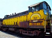 Vintage Yellow Train Engine