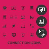 connection, communication black isolated icons, signs, symbols, illustrations set, vector
